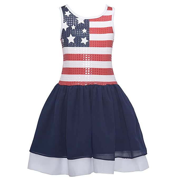 Bonnie Jean Little Girls Sequin American Flag Red White Blue Patriotic Sun  Dress (2T)