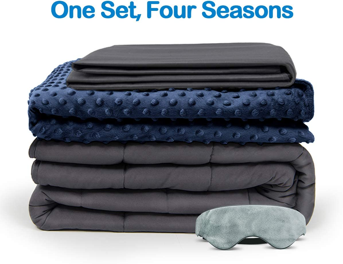 BUZIO Weighted Blanket 4 Piece Set with 2 Removable Duvet Covers & 1 Weighted Sleep Mask, Heavy Blanket for Hot & Cold Sleepers - Kids or Adults (60 x 80 inches - 20 lbs, Navy Blue)