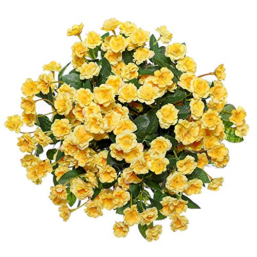 (Veryhome Artificial Small Rose Wildflowers Fake Outdoor Flowers Bouquet Silk Floral Indoor Outside Hanging Planter Home Kitchen Office Wedding Garden Decor 3pcs (Yellow))