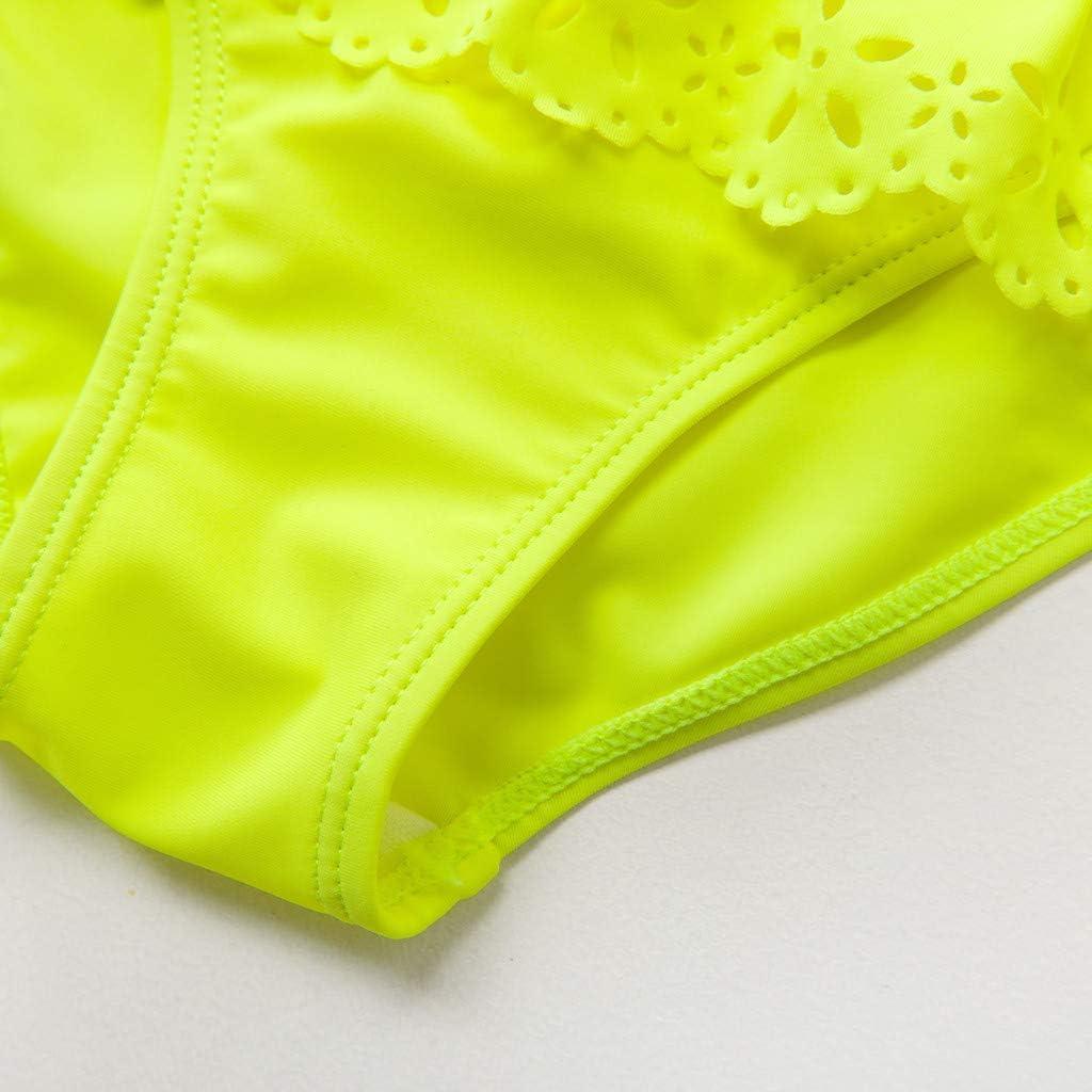 Mbby 5-14 Anni Costumi da Bango Due Pezzi per Bambina Tinta Unita Balze Bikini per Ragazza,Top Pantaloncini