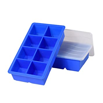 arotao Cubito de hielo bandejas de silicona grandes cubo de hielo bandejas con tapas (2