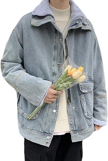 PPEIREEデニムジャケット メンズ 裏起毛 ブルゾン ゆったり 綿服 アウター カジュアル デニムコート 厚手 ワークジャケット アウトドア ジャンパー スタイリッシュ