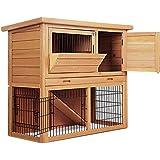 Chicken Coop Rabbit Hutch Guinea Pig Ferret Tray Cage Hen House 2 Storey Feeder