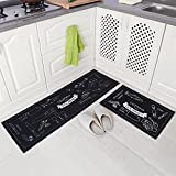 Carvapet 2 Piece Non-Slip Kitchen Mat Rubber Backing Doormat Runner Rug Set, Cozinha Design (Navy Blue 15''x47''+15''x23'')