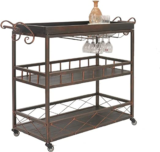 Amazon Com Lyrwishjd Easy To Put Industrial Vintage Style Kitchen Serving Trolley With Wine Rack Storage Cart Table Kitchen Wine Storage Cart Universal Castors Color Bronze Kitchen Islands Carts