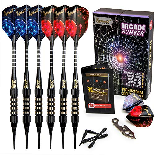 IgnatGames Plastic Tip Darts Set - Soft Tip Darts for Electronic Dart Board - Aluminum Shafts with O'rings, Extra Tips and Extra Flights + Dart Wrench + Innovative Case (18g Arcade Bomber)