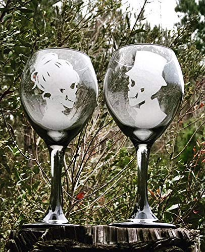 - Two - 13.5 Oz, Black tinted wine glass, Hand Engraved, Skeleton Wine Glasses