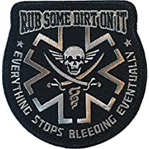 """Rub Some Dirt On It"" Medic, EMS, EMT, Paramedic - Embroidered Velcro Morale Patch (Black)"