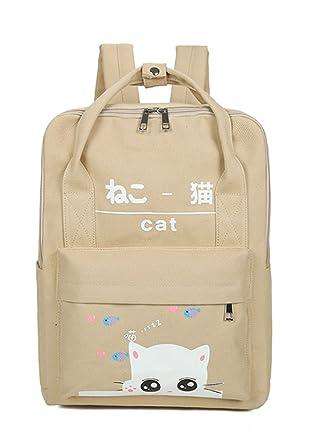 Chic Star Girls Canvas Korean Style Sqaure School Bag Backpack Cats Khaki 37851854df649