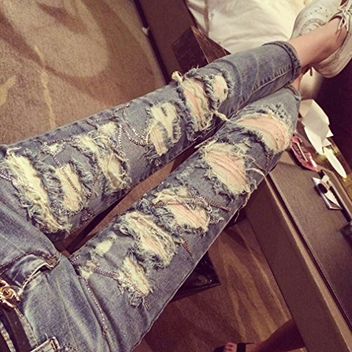 TM Women Cool Casual Chain Ripped Distressed Torn Scratch Jeans