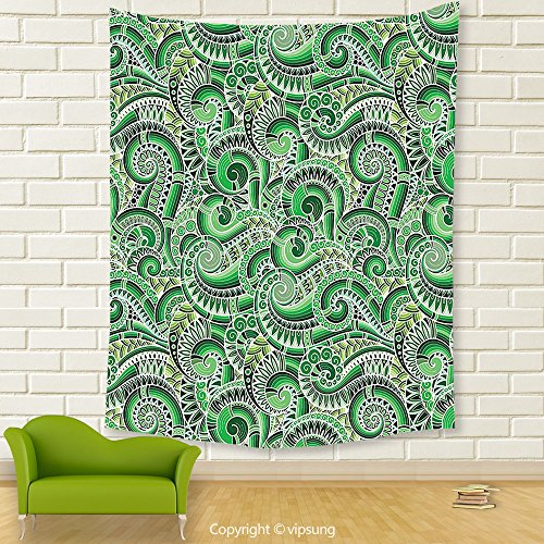 Vipsung House Decor Tapestry_Asian Decor Classic Design Swirl Cucumber Illustration Curvy Outline Mexican Vegetable Summer_Wall Hanging For Bedroom Living Room Dorm