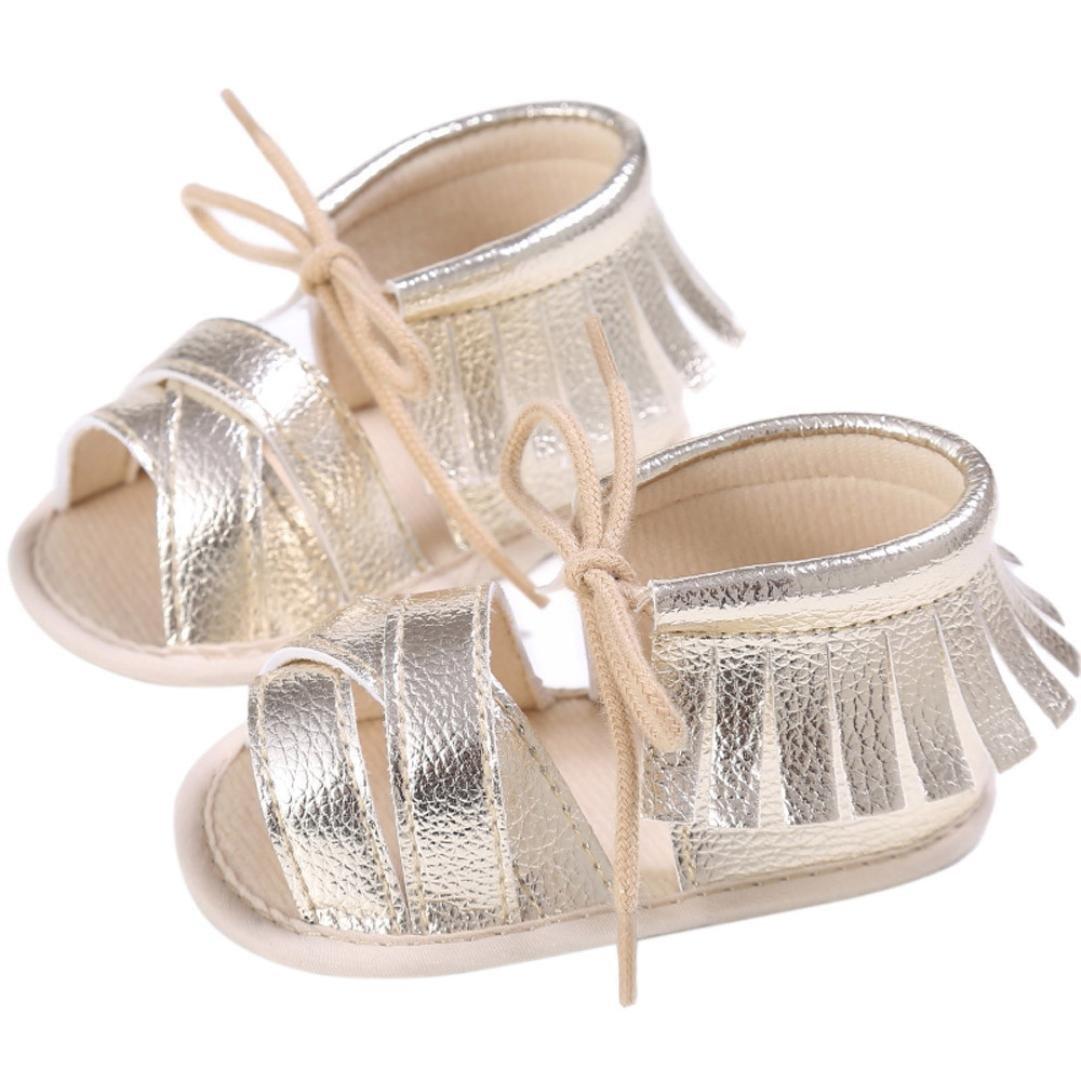 驚きの値段 新生児女の子男の子ベビーベッド靴、elacoソフトソール滑り止め赤ちゃんスニーカータッセルサンダル 0 - 6 ゴールド 0 Months Months ゴールド B06XX997J9, 【おしゃれ】:4602ba66 --- quiltersinfo.yarnslave.com
