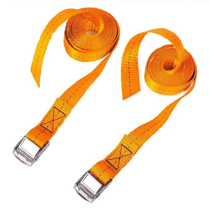 BlueCosto 1 x 8 Lashing Strap Tie Down Straps Orange Rated 500 Lbs Pack of 2