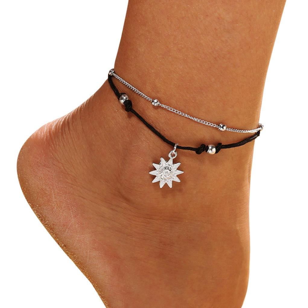 Doppelschicht Kette Sonne Anhänger Fußkette Schmuck Frauen Mädchen Strand Abschnitt Fußkettchen Perlen Boho Fuß Gothic Armband Freundschaftsarmband AmyGline