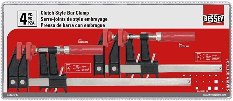 Bessey Starter Set Of 4 F Style Clamps 2 Ea 6 12 Inch Opening For Woodworking Amazon Com