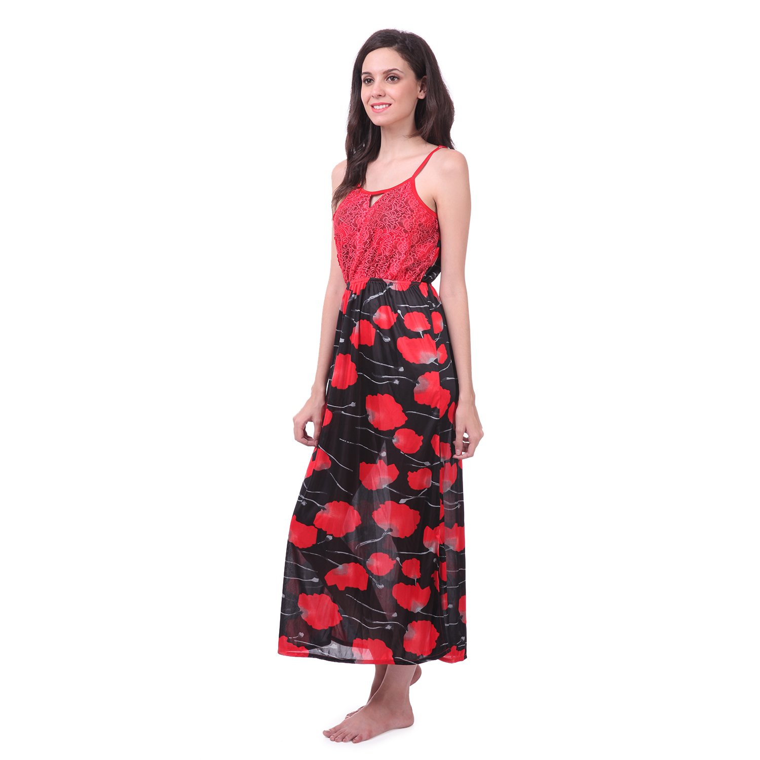 1098cfcb2c Claura 3 pc stylish combo of Printed Long Nighty with robe and shorts nighty(cl-20-red+cl-29-red)   Amazon.in  Clothing   Accessories