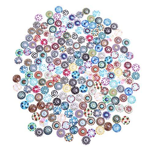 SUPVOX ガラスビーズ モザイクタイル ツートーン 目のボタン 差し目 人形の目 ぬいぐるみ 動物 ミックス ガラス製品 DIY 手作り 小 丸玉 手芸材料 ジュエリー ブレスレット 14MM 200個