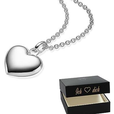 Herzkette Silber 925 Kette Damen Herz  Etui mit I ❤ dich Gravur  Geschenke c1c82c19b8