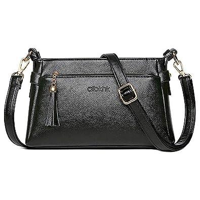 baceeaafe0b Womens Genuine Leather Tote Shoulder Bag, Ladies Crossbody Casual Handbag  Purses Fashion Messenger Bag with Strap for Women