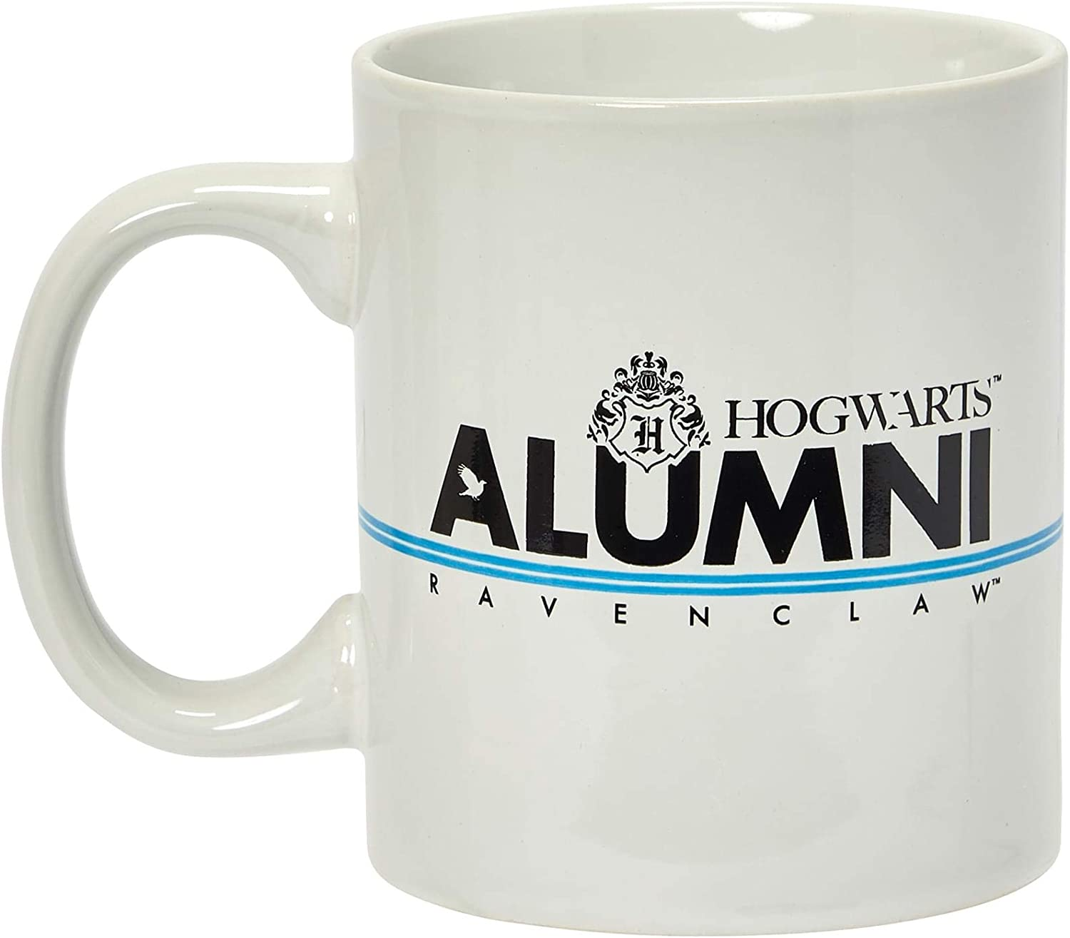 Harry Potter Ravenclaw Alumni 11-Oz Mug - White Ceramic Cup With Handle - Hogwarts Crest & House Blue Stripe With Black Lettering - From Rowling's Wizarding World