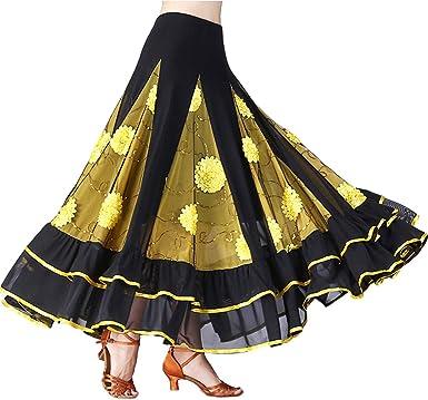 Tookang Mujer Falda Larga de Danza Traje de Baile Flamenco ...