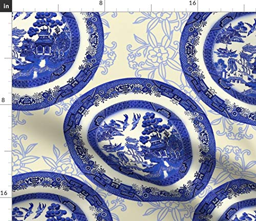 - Spoonflower Blue Willow Fabric - Vintage Asian Temple Circle Toile Beige Plates Table China Print on Fabric by The Yard - Velvet for Upholstery Home Decor Bottomweight Apparel
