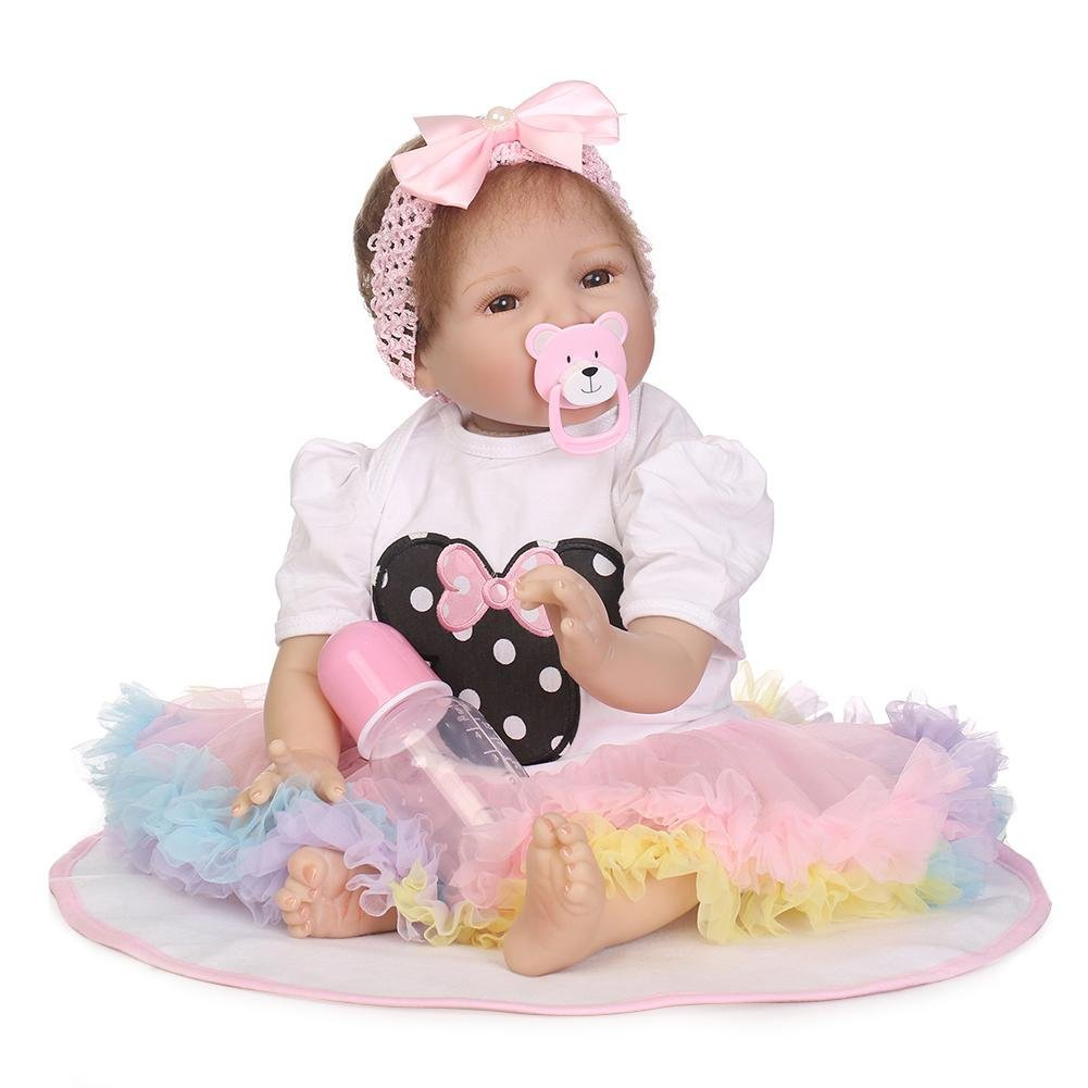 chinatera Kids Toy NPK Lovely Realistic Simulation Reborn Doll Soft Silicone Lifelike Artificial Kids Cloth Dolls