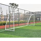 """Pass Premier 12 X 6 Ft. Youth Size Steel Soccer Goal. 2"""" Diameter Strongest Steel Frame w/Durable 4mm Net, Ground Stakes, Elastic Clasp & Re-Usable Ties. 12x6 Ft. Practice Aid.(1Net)"""