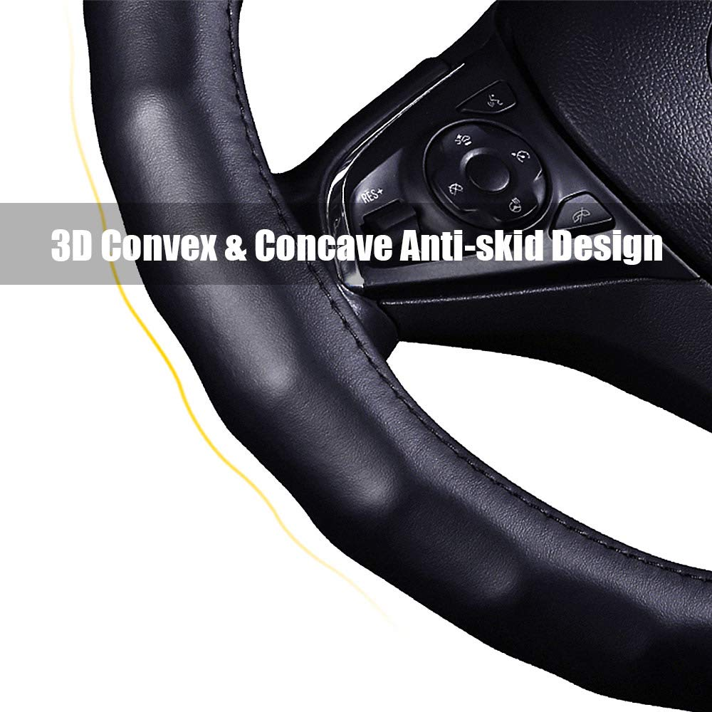 B - Black with Red Line, M Genuine Leather Car Steering Wheel Cover 3D Non-slip Massage Basic Series Universal 35//36//38//40cm 13-3//4//14-3//8//14-1//2//15//15-7//8 37-38.5cm // 14-1//2-15-1//8