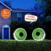 Joiedomi 2 Pack Huge Halloween 3 FT Inflatable LED Light Up Eyeball for Halloween Party Indoor, Outdoor, Garden, Lawn, Yard Decoration (3 ft Diameter)