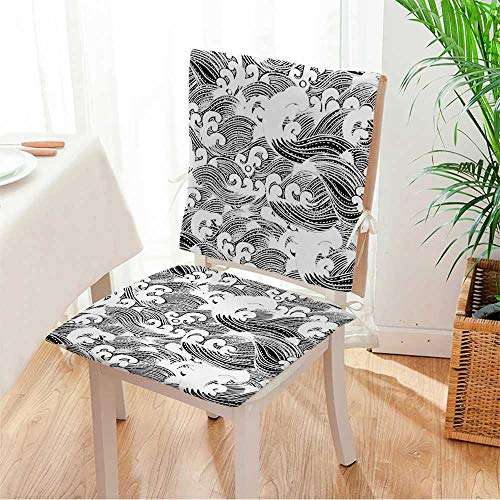 (Miki home 2 Piece Set Cushion Seamless Abstract Pattern,Waves Background,Wallpaper Includes Seat and Backrest Mat:W17 x H17/Backrest:W17 x H36)