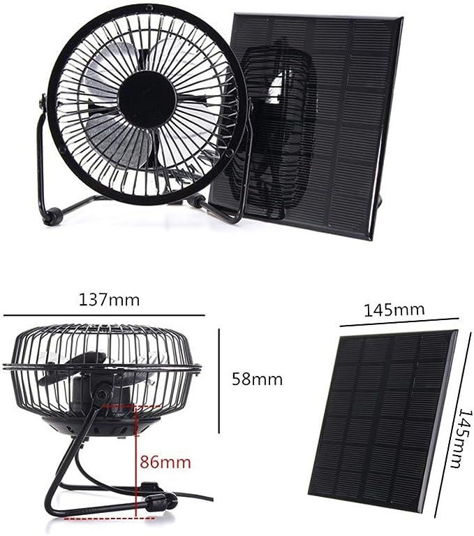 Nuzamas Ventilador de 3 W 6 V con panel solar para camping ...