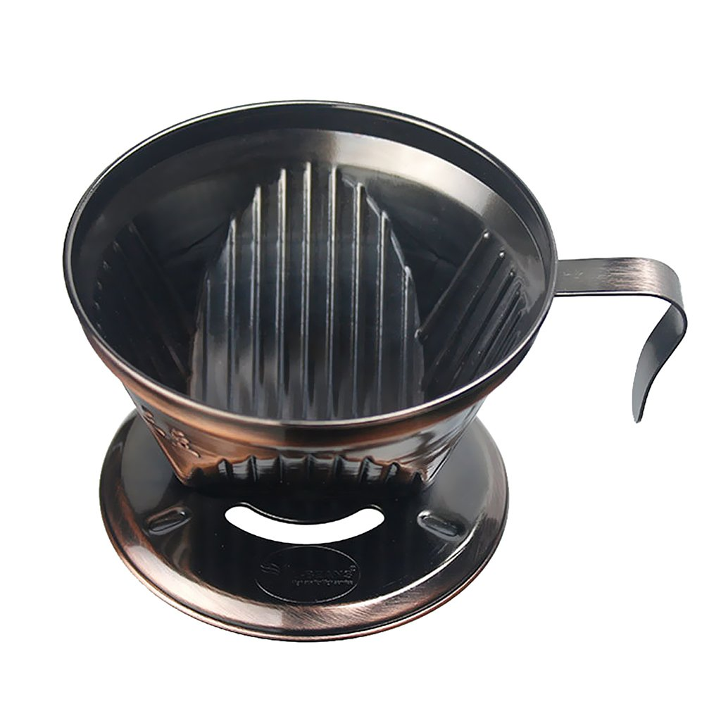 MonkeyJack Coffee Filter Cup Cone Drip Dripper Maker Brewer Holder Reusable Filter Cone - Bronze, as described