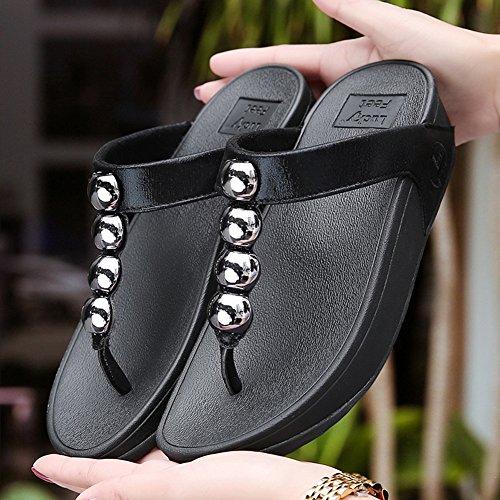 Verano Zapatillas Temporada Cuentas de Sandalias Fondo Playa Grueso NVXIE Mujeres Pellizcar Zapatillas black Pendiente Brillantes qUEOAw