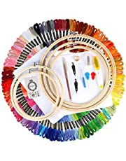 Full Range of Embroidery Starter Kit Cross Stitch Tool Kit Including 5 PCS Bamboo Embroidery Hoop, 100 Color Threads, 2 PCS Classic Reserve Aida and Tool Kit