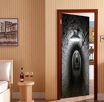Creative 3D Door Stickers Tunnel Vinyl Wall Decal Door Mural Art ...