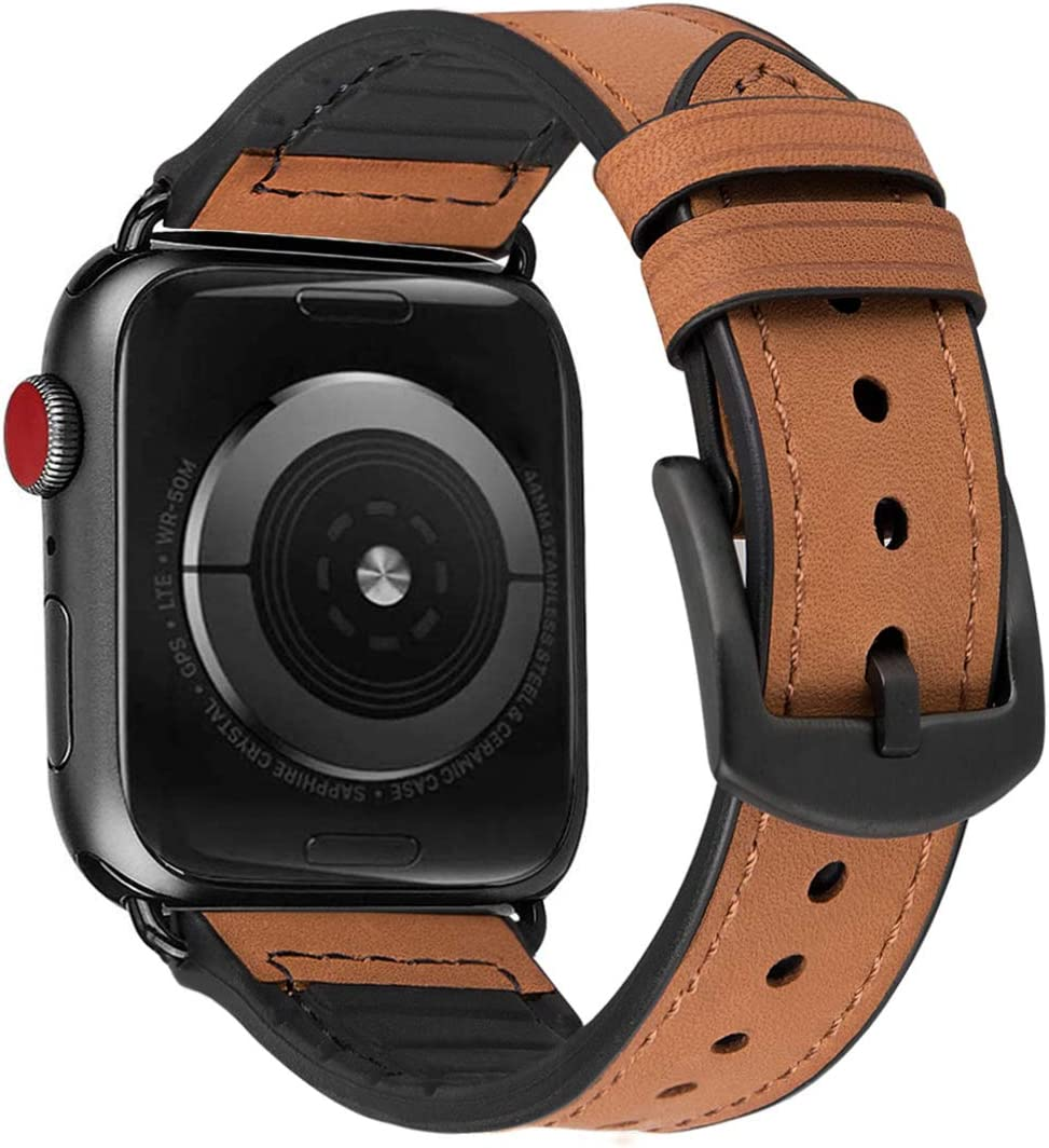 MroTech Watch Bands Replacement for Apple Watch 44mm 42mm Series 5 Series 4 Series 3 Series 2 Series 1 Wristbands Wrist Bracelets Watchband with Black Buckle Mens Belt Bracelets- Brown 42/44 mm
