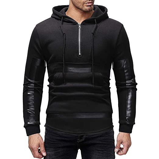 95229891 Hunzed Men【Long Sleeve Zipper Hoodie Sport Sweatshirt 】Mens Fashion Casual  Printed Solid Color