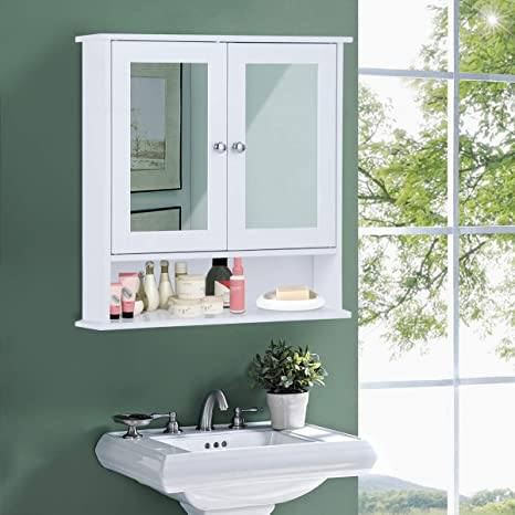 COSTWAY Armario con Espejo de Baño de Pared con 2 Puertas 58 x 56 x13 CM