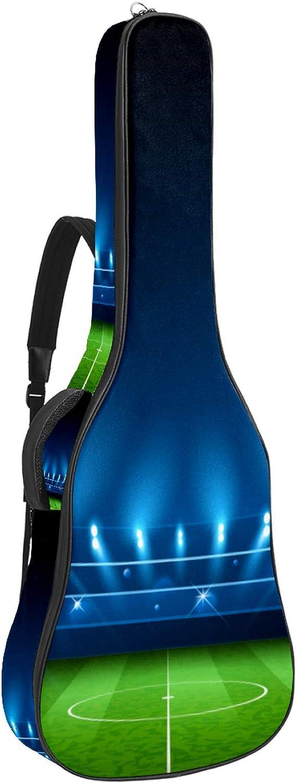 Funda de Guitarra Universal Luces de campo de fútbol Acolchada de 10mm con 2 Bolsillos para Guitarra Acústica y Clásica con Tamaño Más Grandes para Guitarra de 42 Pulgadas 109x43x12cm