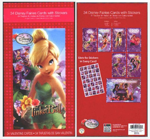 Click for larger image of Disney Fairies Valentines Cards with Stickers