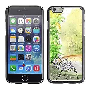TopCaseStore / la caja del caucho duro de la cubierta de protección de la piel - Bench Watercolor Autumn Fall Nature - Apple iPhone 6