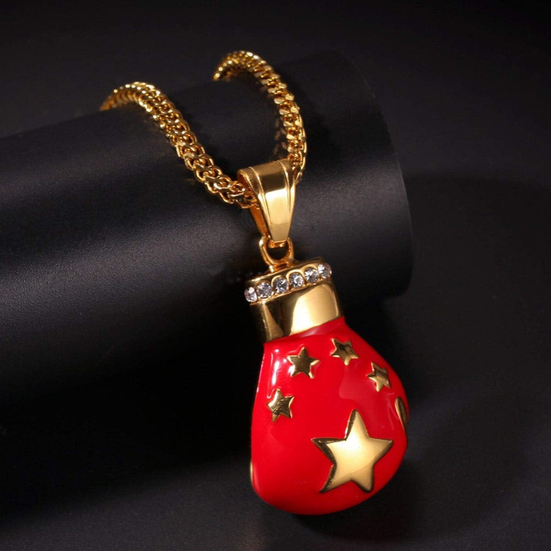Hip Hop National Flag Boxing Gloves Pendant Necklace Rhinestone Necklace for Men