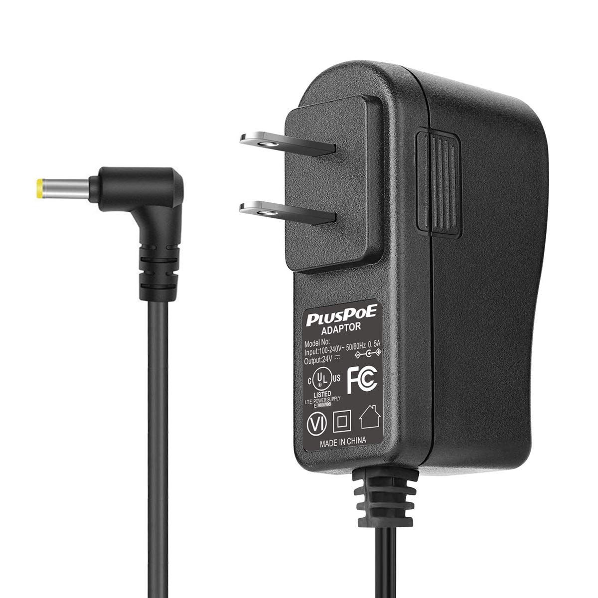 24V Wall Adapter, PLUSPOE AC DC Adaptor Power Supply Replacement Cord Cable Charger for 100ml / 120ml / 300ml / 500ml Essential Oil Diffuser 5.9Ft (Black)