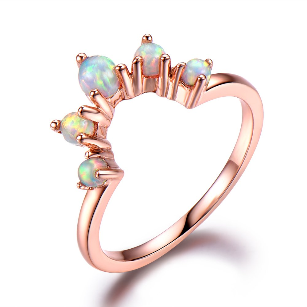 Opal Wedding Band Rose Gold 925 Sterling Silver U Shaped Stacking Ring Anniversary Gift Unique Matching