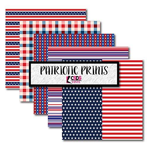 - CSDS Vinyl Bundle Pack of Patriotic Printed Vinyl, American Printed Heat Transfer Vinyl, Flag HTV, USA Vinyl, American Vinyl (Heat Transfer Vinyl)
