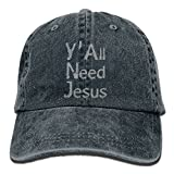 PYH0kox Y'all Need Jesus Unisex Flat Bill Hip Hop Cap Baseball Hat Head-Wear Cotton Trucker Hats Navy