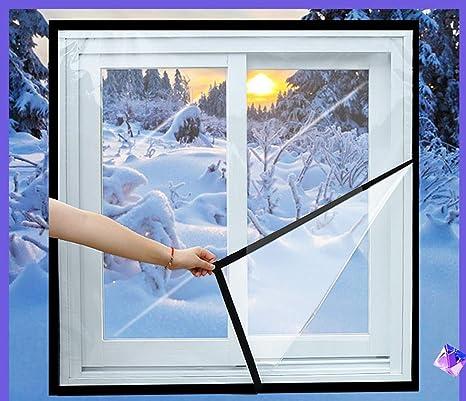 39inx39in LIBRNTY Film isolant pour fen/être int/érieur r/ésistant /à la chaleur,kit isolant pour porte et fen/être,Film de survitrage thermo Cover transparent1m x 1m,Essentiel dhiver