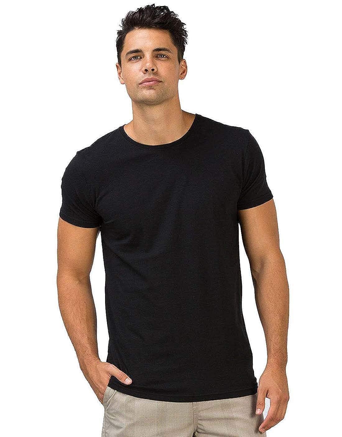 Indian Handicrfats Export Black Solid Regular Fit Cotton Mens T-Shirt