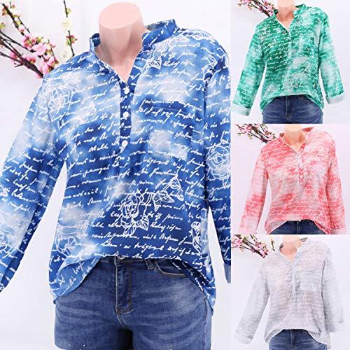 Fashion Haut Casual Manches T JackenLOVE Blouse Shirt Imprime Tops Printemps Shirts Femme Bleu Automne Longues Tee Chemisiers et nwvHIq